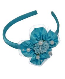 Simply Cute Satin & Tissue Flower Hairband - Turquoise Blue