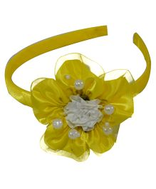 Simply Cute Satin & Tissue Flower Hairband - Yellow