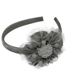 Simply Cute Satin & Tissue Flower Hairband - Grey