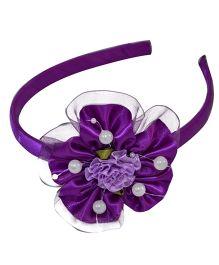 Simply Cute Satin & Tissue Flower Hairband - Purple