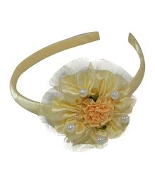 Simply Cute Satin & Tissue Flower Hairband - Off White