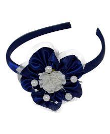 Simply Cute Satin & Tissue Flower Hairband - Navy Blue