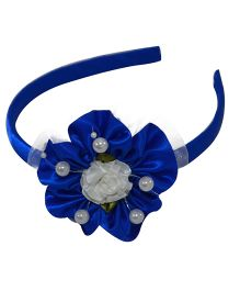 Simply Cute Satin & Tissue Flower Hairband - Ink Blue