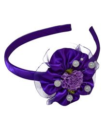 Simply Cute Satin & Tissue Flower Hairband - Violet