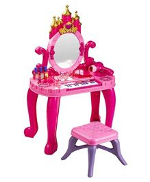 Saffire Vanity Table Set With Piano - Pink