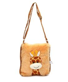 IR Soft Fur Shoulder Bag Giraffe Applique - Brown