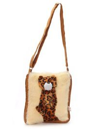 IR Soft Fur Shoulder Bag Leopard Applique - Brown