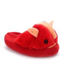 IR Fur Flip Flops Fish Design - Red