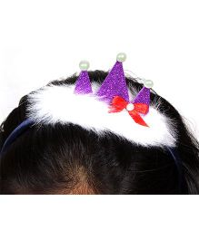Sugarcart Princess Crown With Fur On Hairband - Purple & White