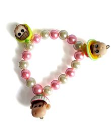 Sugarcart Pearl Bracelets With Cute Dolls Latkan - Pink Lime & Yellow