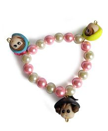Sugarcart Pearl Bracelets With Cute Dolls Latkan - Blue Lime & Black