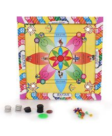 Lovely Medium Printed Carrom Board With Ludo - Multicolor