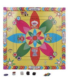 Lovely Senior Five In One Print Carrom Board With Ludo - Multicolor