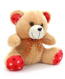 Liviya Button Teddy With Lace Bow Brown - 10 Inches