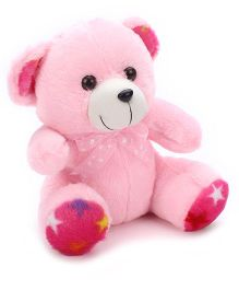 Liviya Button Teddy With Lace Bow Pink - 10 Inches