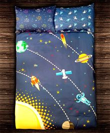 Paper Rockets Space Bed Sheet - Multicolor