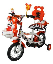HLX NMC Happy Tiger Kids Bicycle White Orange - 12 Inches