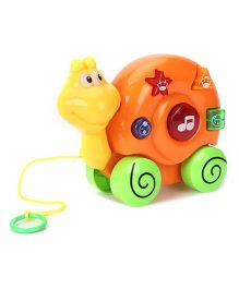 Musical Snail Shape Pull Along Toy - Yellow And Orange