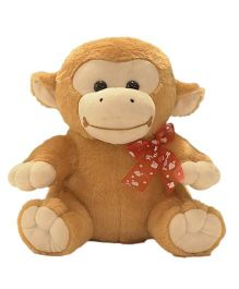 Ultra Sitting Monkey With Bow Brown - 11 inches
