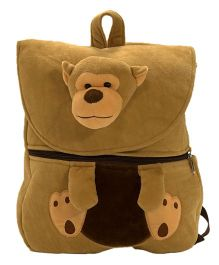 Ultra Felt Velvet School Bag With Monkey Soft Toy - 12 inch