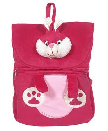 Ultra Felt Velvet School Bag With Bunny Soft Toy Pink - 12 inch
