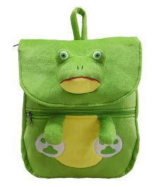 Ultra Felt Velvet School Bag With Frog Soft Toy Green - 12 inch