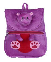 Ultra Felt Velvet School Bag With Hippo Soft Toy -
