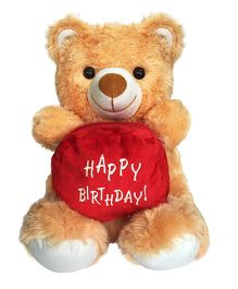 Ultra Happy Birthday Pouch Holding Teddy Brown - 38 cm