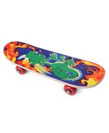 Skating Board Dinosaur Print - Green Blue