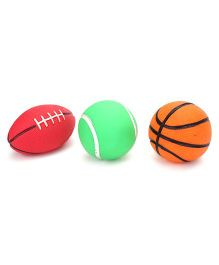 Ratnas Squeaky Toys Sports Ball 3 Pieces (Color Shape & Design May Vary)