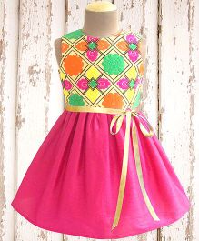 A.T.U.N Color Mosiac Embroidered Dress - Multicolour & Pink