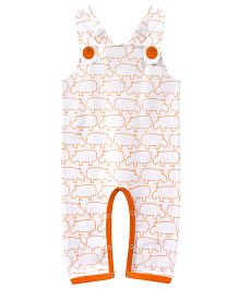ATUN Hippo Print Dungaree - White & Orange