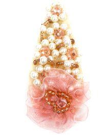 ATUN Blush Bead & Pearl Studded Hair Clip - Pink