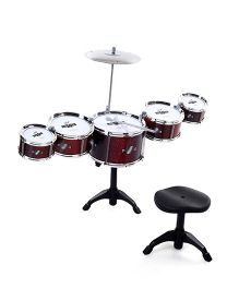 Musical Drum Set With Stool - Red