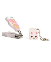 Adore Baby Cartoon Nail Clipper With Cap Pink & White (Character May Vary)