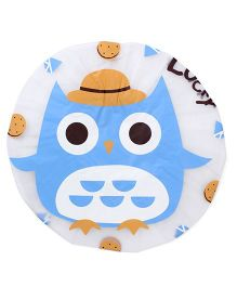 Adore Baby Shower Cap Cartoon Owl Print - White & Blue
