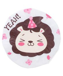 Adore Baby Shower Cap Cartoon Yeah Lion Print - White & Brown