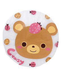 Adore Baby Shower Cap Cartoon Bear Face - White & Brown