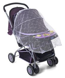 Baby Stroller Cum Pram With Toy And Mosquito Net - Purple Black