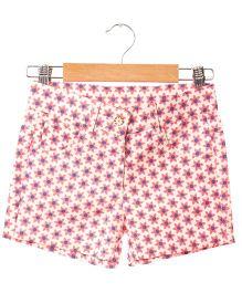 Hugsntugs Flower Print Canvas Shorts - Pink