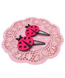 Little Cuddle Set Of 2 Ladybug Snap Clips - Pink