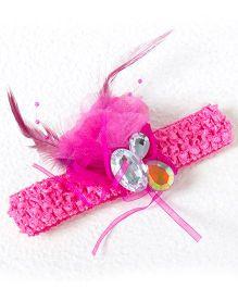 Treasure Trove Diamond Studded Feather Headband - Pink