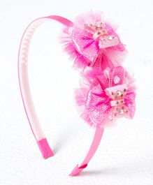 Treasure Trove Mesh Flower Bow Studded Hair Band - Pink