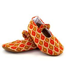 Skips Printed Slip On Mary Jane Booties - Red and Yellow