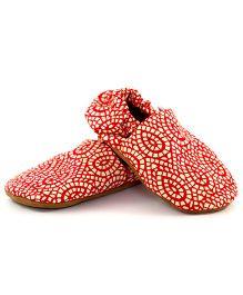 Skips Printed Slip On Jootie Booties - Red