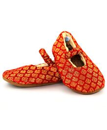 Skips Printed Slip On Mary Jane Jootie Booties - Red and Gold