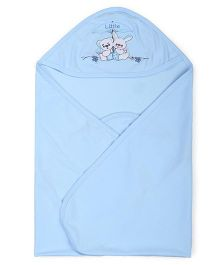 Simply Hooded Wrapper Animal Embroidery - Light Blue
