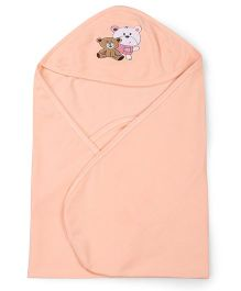 Simply Hooded Wrapper Bear Embroidery - Peach