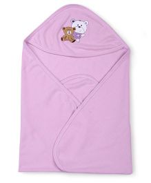 Simply Hooded Wrapper Bear Embroidery - Light Purple