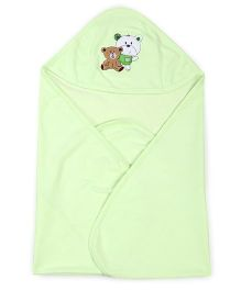 Simply Hooded Wrapper Bear Embroidery - Light Green